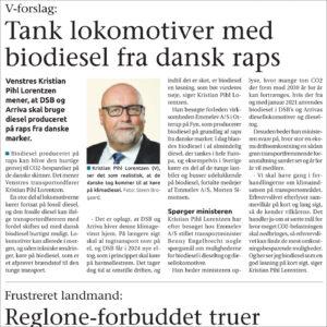 Tank lokomotiver med biodiesel